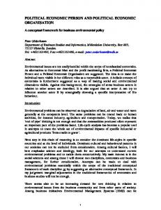 political economic person and political economic organisation - ULB