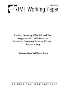 Political Economy of Multi-Level Tax Assignments in Latin ... - IMF