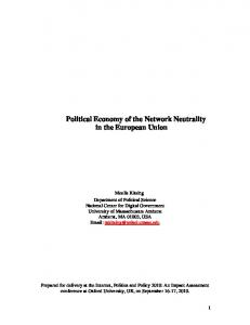 Political Economy of the Network Neutrality in the European Union