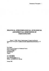 Political, epistemological, ecological and spiritual dimensions of ...