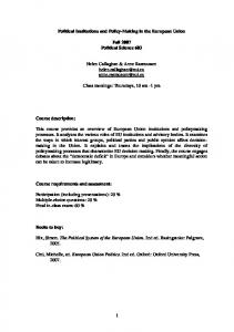 Political Institutions and Policy-Making in the European Union - MPIfG