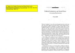 Political Institutions and Social Power