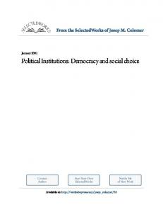 Political Institutions: Democracy and social choice