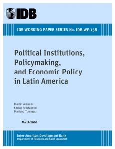 Political Institutions, Policymaking, and Economic Policy in Latin America