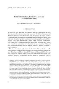 Political Institutions, Political Careers and Environmental Policy - SSRN