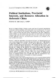 Political Institutions, Provincial Interests, and ...