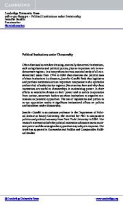 Political Institutions under Dictatorship - langtoninfo.com