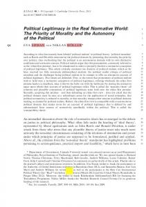 Political Legitimacy in the Real Normative World: The ...