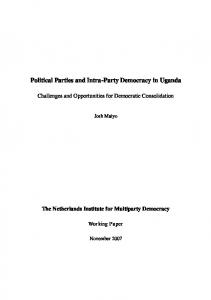 Political Parties and Intra-Party Democracy in Uganda