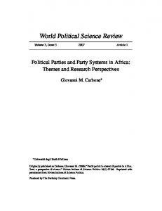 Political Parties and Party Systems in Africa - African Democracy ...