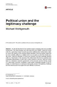 Political union and the legitimacy challenge - Springer Link