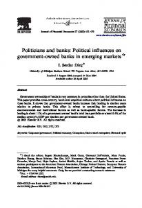 Politicians and banks: Political influences on government-owned ... - MIT