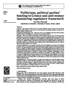 Politicians, political parties' funding in Greece and anti-money ...