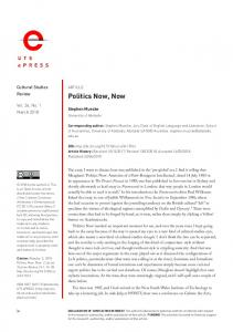 Politics Now, Now - Open Journal Systems