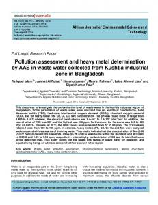 Pollution assessment and heavy metal determination by AAS in waste