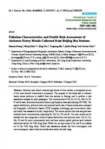 Pollution Characteristics and Health Risk Assessment of ... - MDPI