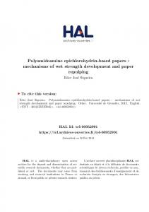 Polyamidoamine epichlorohydrin-based papers - Tel Archives ouvertes