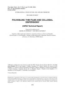 polyaniline: thin films and colloidal dispersions - iupac