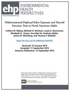 Polybrominated Diphenyl Ether Exposure and Thyroid Function Tests ...