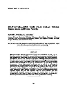 POLYCRYSTALLINE THIN FILM SOLAR CELLS