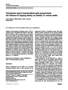 Polyethylene glycol functionalized gold nanoparticles: the influence of ...