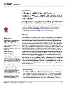 Polyfunctional HIV-Specific Antibody Responses Are ... - PLOS