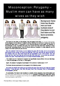Polygamy - Misconceptions About Islam