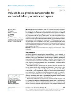 Polylactide-co-glycolide nanoparticles for controlled ... - CiteSeerX