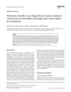 Polymeric micelles as a drug delivery system ... - Semantic Scholar