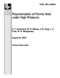 Polymerization of Formic Acid under High Pressure - Site Index Page