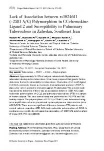 Polymorphism in CC-chemokine Ligand 2 and Susceptibility to ...