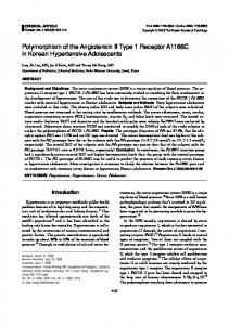 Polymorphism of the Angiotensin II Type 1 Receptor A1166C in ...