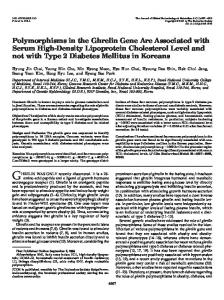 Polymorphisms in the Ghrelin Gene Are Associated with Serum High ...