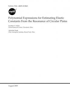 Polynomial Expressions for Estimating Elastic Constants From the ...