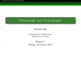 Polynomials and Cryptography - UniTN