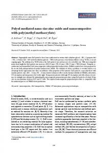 Polyol mediated nano size zinc oxide and nanocomposites with poly ...