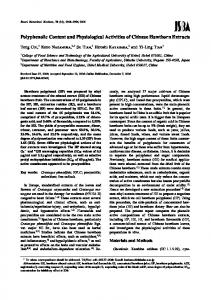 Polyphenolic Content and Physiological Activities of Chinese ...
