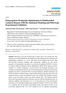 Polypropylene Production Optimization in Fluidized Bed ... - MDPI