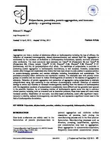 Polysorbates, peroxides, protein aggregation, and immuno- genicity ...