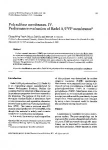 Polysulfone membranes. IV. Performance evaluation ... - Science Direct