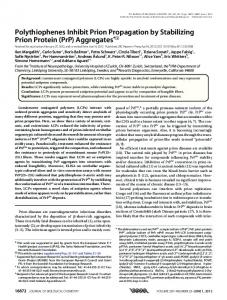 Polythiophenes Inhibit Prion Propagation by Stabilizing Prion Protein ...