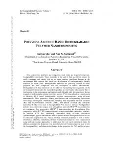 Polyvinyl Alcohol Based Biodegradable Polymer ...