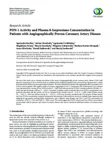 PON-1 Activity and Plasma 8-Isoprostane Concentration in Patients ...
