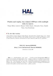Pontin and reptin, two related ATPases with multiple ... - HAL-Inserm