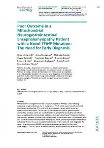 Poor Outcome in a Mitochondrial Neurogastrointestinal