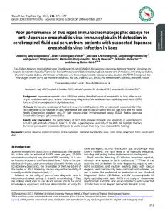Poor performance of two rapid immunochromatographic assays for ...