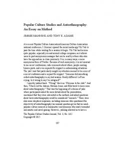 Popular Culture Studies and Autoethnography: An ...