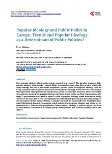 Popular Ideology and Public Policy in Europe: Trends and Popular ...