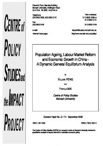 Population Ageing, Labour Market Reform and Economic Growth in ...