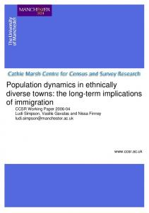 Population dynamics in ethnically diverse towns - Cathie Marsh ...